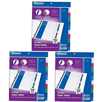 LOT of 3 PACKS BAZIC 3 Ring Binder Dividers with 10 Color Tabs -3107 divider tap