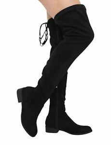 Low Thigh 6 Ladies S358 Long Stretch Heel Knee Boots Uk High Black Over The 4 8xOHx