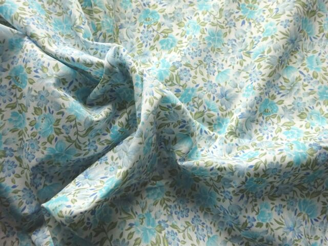 Vintage 1960's 70's Poly-Cotton Dress Making Fabric Blue Floral