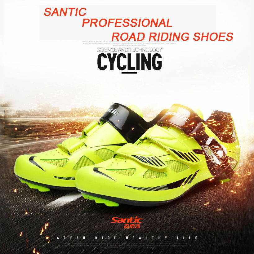 Santic Road Cycling Bike Bicycle shoes Look SPD-SL Syste Fluorescent Green