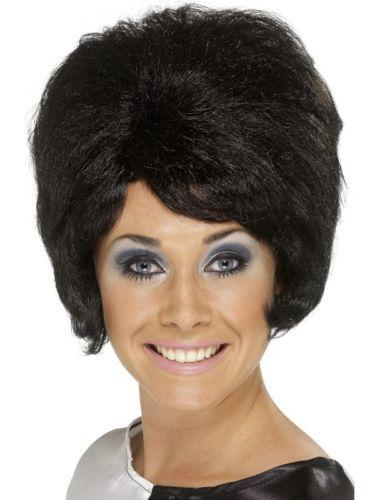 Women/'s Girl/'s Fantasy Fancy Dress 1960/'s 70/'s Short Black Beehive Wig Cilla Fun
