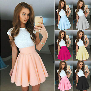 Womens-Lace-Party-Cocktail-Mini-Dress-Summer-Short-Sleeve-Skirt-Skater-Sundress