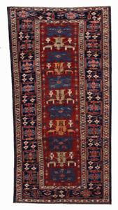 134cmx271cm 1880s Handmade Antique Caucasian Shirvan Rug 4.4'x8.9' 1b491