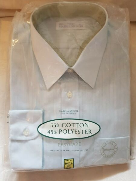 *** Vintage Formale Camicia 1990 Circa Marks And Spencer *** 16 1/2 Collr