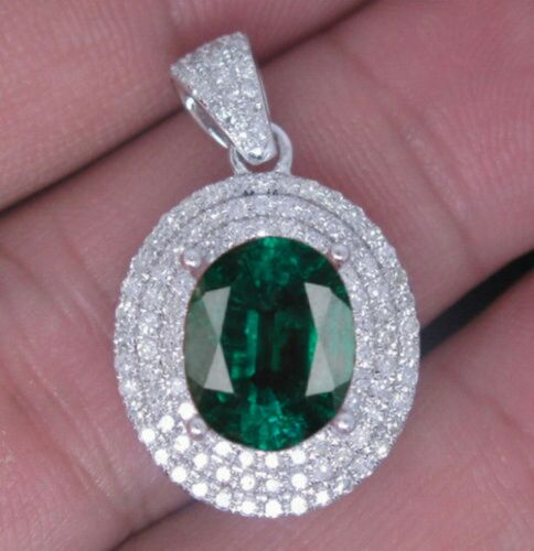 2.00Ct Oval Shape 925 Sterling Silver Natural Green Emerald Solitaire Pendant