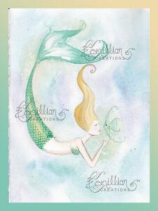 BEACH NAP Sleeping Mermaid Print from Original Painting By Camille Grimshaw