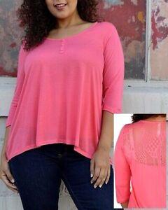 Woman Plus Size 2X, 18W/20W  Button 3/4 Sleeve Pink Blouse Shirt Blouse top