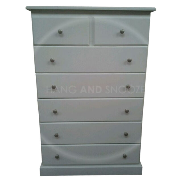 HAND MADE CAMBRIDGE WHITE 2+5 DRAWER CHEST WHITE SILVER (ASSEMBLED)