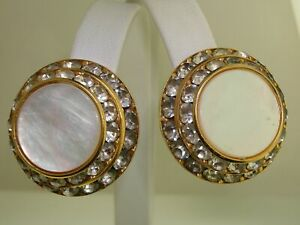 LARGE-ELEGANT-VINTAGE-1970-039-S-MOTHER-OF-PEARL-amp-CHANNEL-SET-RHINESTONE-EARRINGS