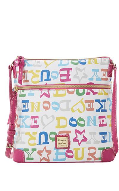 NWT.Authentic Dooney & Bourke Multi Doodle Coated Cotton Crossbody Handbag.