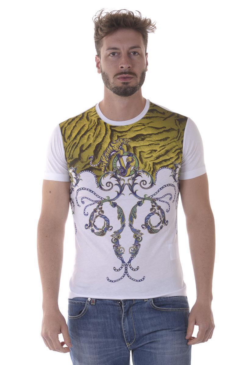 T shirt Maglietta Versace Jeans Sweatshirt SLIM Cotone  Herren Bianco B3GOA790 3