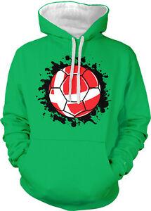 Bandera de capucha danés Balón fútbol Dnk Danmark dos tonos Dinamarca con País de de Sudadera 7xPHrYw7
