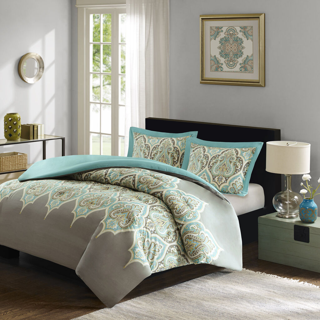 BEAUTIFUL MODERN TROPICAL Blau AQUA TEAL Grün BOHEMIAN grau DUVET COVER SET NEW