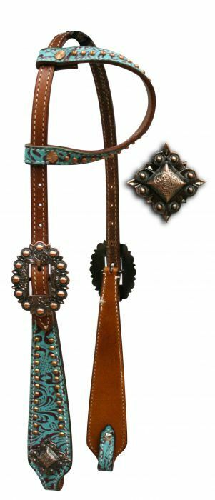 Showman One Ear Leather HEADSTALL & REINS TEAL Filigree with Engraved Conchos