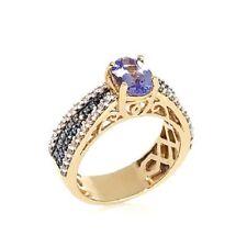 VICTORIA WIECK TANZANITE BLUE DIAMOND AND ZIRCON VERMEIL RING SIZE 7 HSN