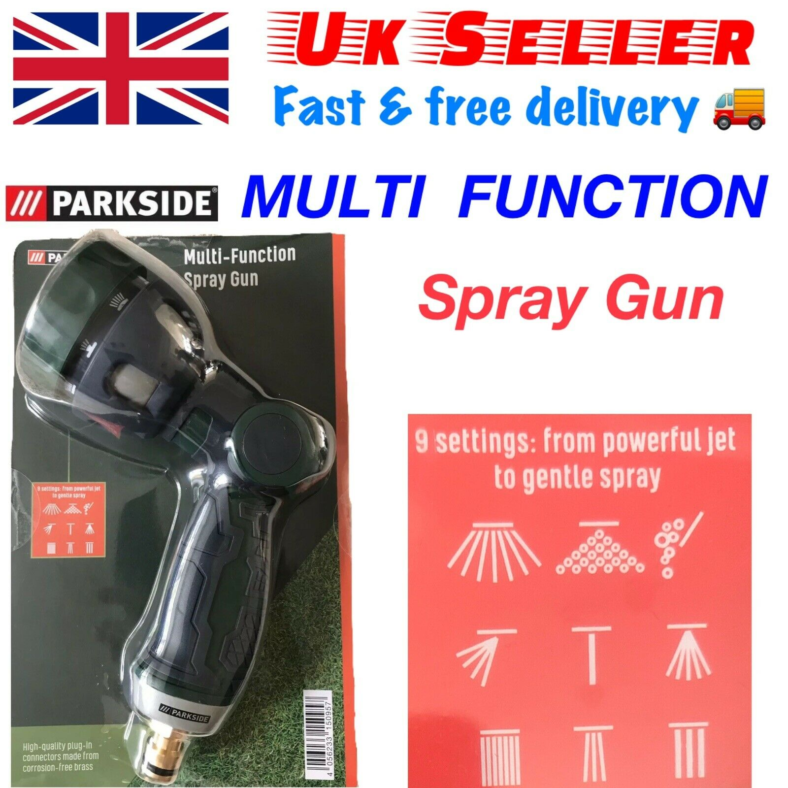 Multi-Function Spray Gun With 9 Setting From Powerful Jet To Gentle Spray .