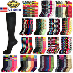 6-12-Pairs-Women-Girls-Knee-High-Multi-Color-Fashion-Fancy-Design-Socks-9-11