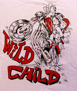 Wild-Child-Logo-Biker-Slogan-Babywear-Baby-Biker-Babygrow-Pink-Clearance