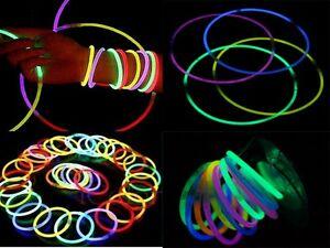 """100 pcs 8"""" Multi Color Glow Stick Bracelet Necklace Wholesale Party Supply Lot *"""