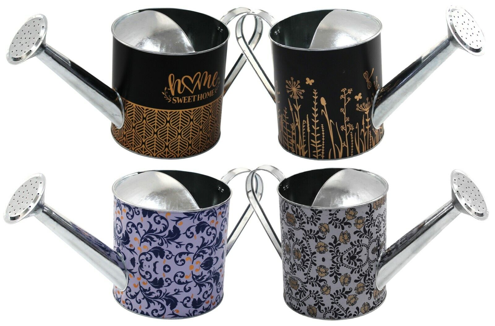 Bright Floral Metal Watering Can 3 Litre Retro Home Decor Watering Can Gold