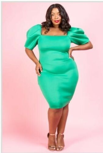 Green Plus Size Womens Off Shoulder Short Puff Sleeve Dress  Evening Cocktail 1X