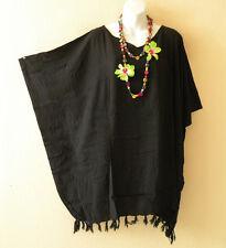 Black Solid Plus Size Kaftan Tunic Gypsy Boho Hippy Women Blouse Top - 2X to 5X