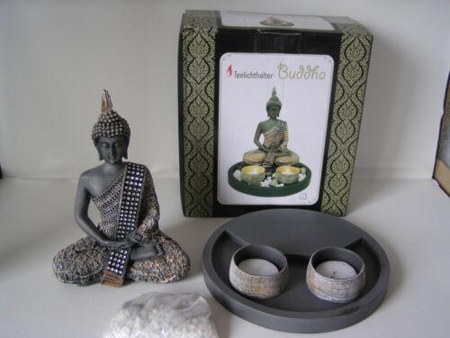Buddha Set mit 2 Teelichtern, Feng Shui Dekoration, Dekoration, Buddha Figur