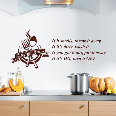 Kitchen Rules Quote Wall Art Vinyl Sticker Modern Decals Home Decorations