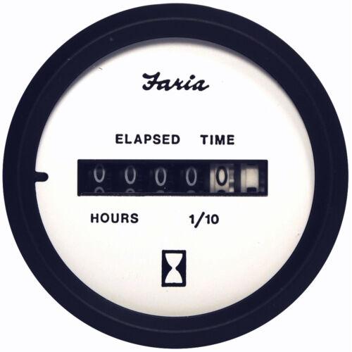 Faria Boat Marine Hour Meter Gauge Euro White Instrument Inboards FAR 12913
