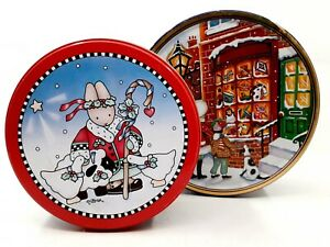 Pair of Fun, Bright Christmas Holiday Collectible Decorative Metal Storage Tins