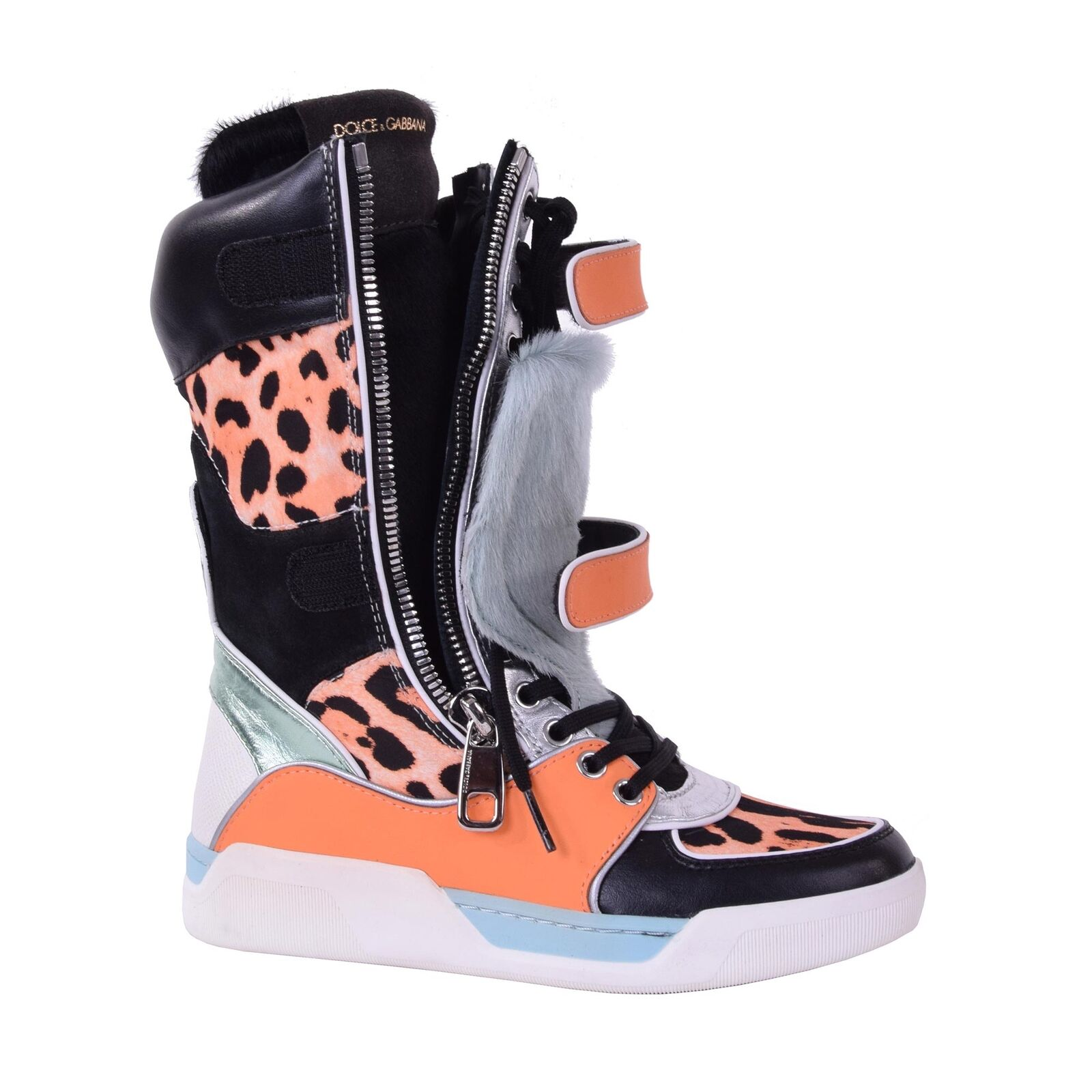 DOLCE & GABBANA Patchwork Pelz Leo High-Top Sneaker Stiefel Stiefel 05874 Orange 05874 Stiefel 1d25f1