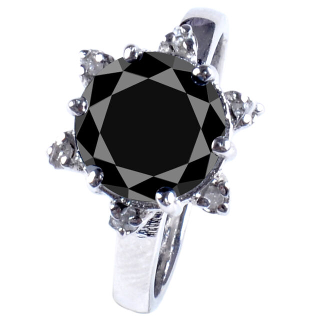 2.68 ct BLACK MOISSANITE & NAUTRAL ROUGH DIAMOND .925 SILVER RING see video