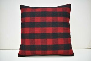 Vintage Turkish Kilim Pillow Cover 17 x 17 Throw Pillow Cushion Cover Handmade