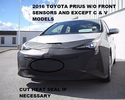 Car Mask Bra without front sensors 2016 Toyota Prius Lebra 2 piece Front End Cover Black Fits excludes C /& V models