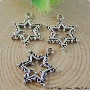 Vintage-Silver-Alloy-Creative-Stars-Pendants-Charms-Crafts-Findings-20pcs-50828
