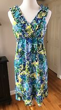 NEW DIRECTIONS Blue Yellow Floral Ruffle V-neck Knee Length Wrinkle Free Dress 6