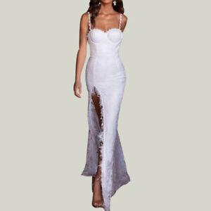 new products 012e3 c42af Details zu Damen Brautjunfer Abendkleid Ballkleid Schlitz Spitze Lang Kleid  Cocktailkleider