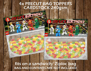 Image Is Loading Lego Ninjago Personalised Bag Topper Birthday Party Favour
