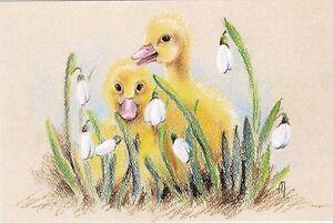 Little Girl Bullfinches Bird Rowan by Olkhovskaya Russian Modern Postcard