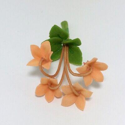 Orange Tulip Clay Flower Dollhouse Miniature Garden Handmade Decor Collectible