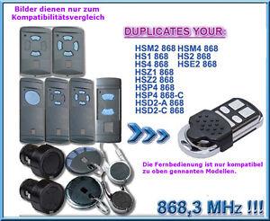 868 mhz handsender kompatibel zu h rmann garagentor fit2 hs4 hsp4 hsd2 hsz hsz2 ebay. Black Bedroom Furniture Sets. Home Design Ideas
