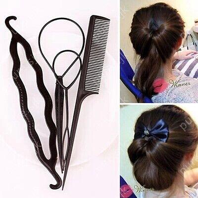 Women`s Summer Hairagami Hair Bun Updo Fold Wrap & Snap Hair Style Tool 4pcs/set