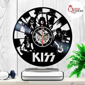 KISS Rock Band Vinyl Record Black Wall Clock Fan Art Birthday Gifts Home Decor