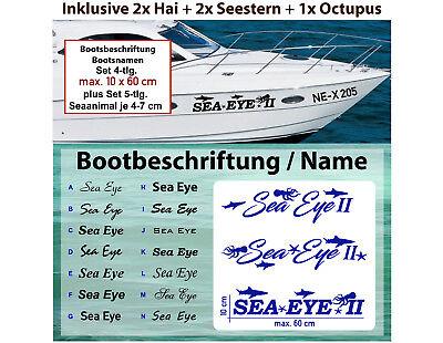 2x  Boot Kennzeichen Vorschrift DIN mit 10 cm Höhe 4-tlg. 2x Boot Beschriftung