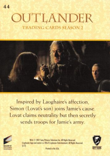 2017 Outlander Season 2 BASE Trading Card #44 PLAYING BOTH SIDES