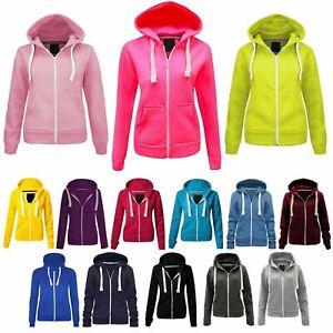Kids Girls /& Boys Unisex Plain Fleece Hoodie Zip Up Style Zipper Age 7-13 Years