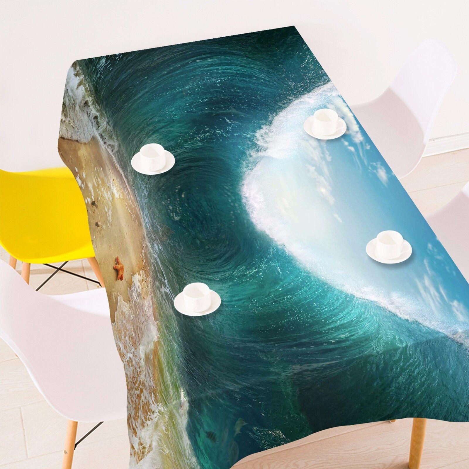 3D Vagues Sky 6 Nappe Table Cover Cloth fête d'anniversaire AJ papier peint Royaume-Uni Citron
