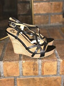 Details About Seychelles Shoes Size 7 5 Wedge Black Leather Vachetta Stacked Heel Sandals