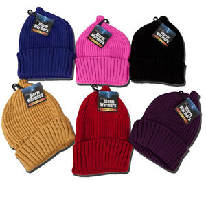 09e298f2283805 Image is loading Chunky-Knitted-Hat-Ladies-Wooly-Beanie-Winter-Thermal-