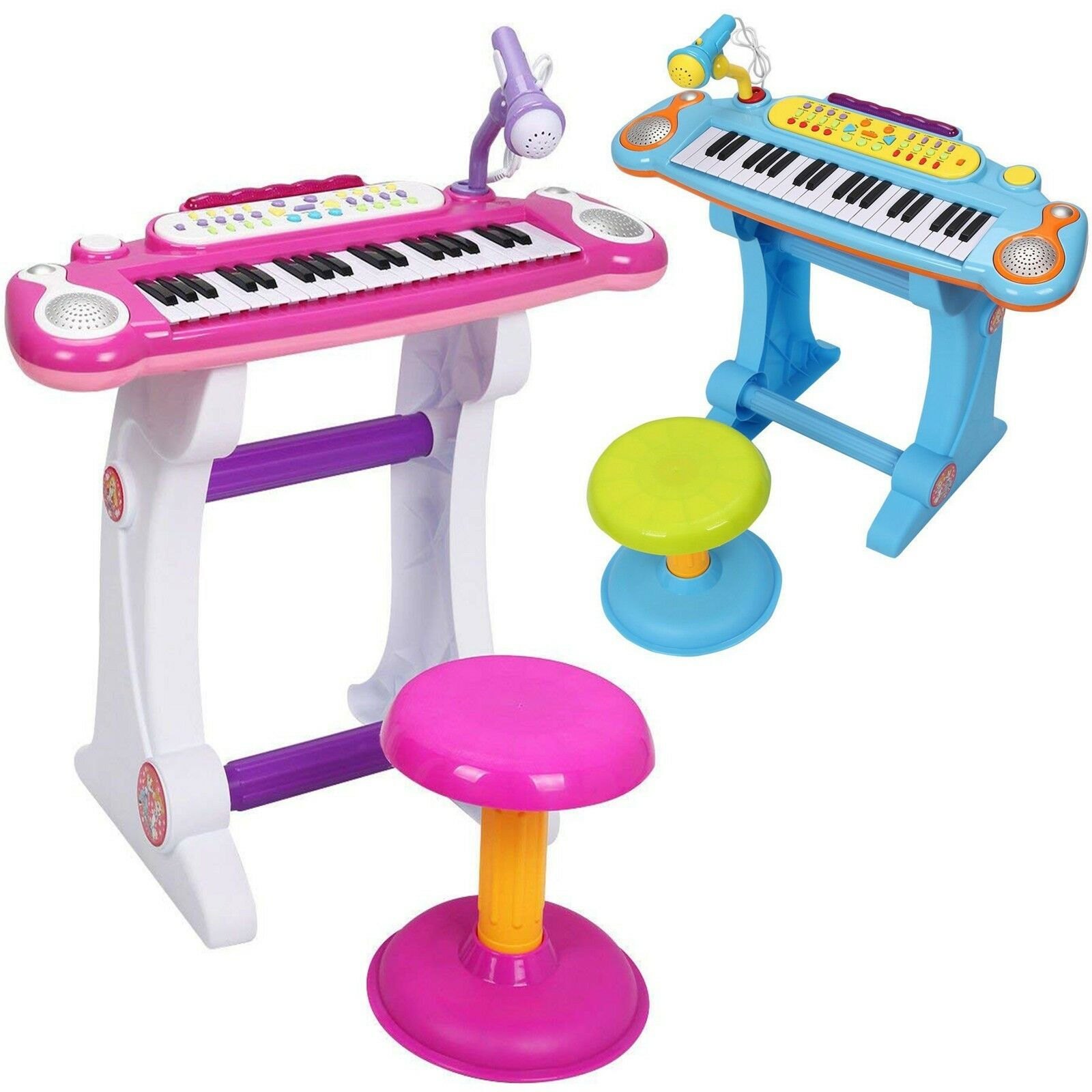 37 Key Kids Electronic Keyboard Piano Set with Microphone & Stool Musical Toy